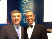ISA PRESIDENT FERNANDO AGUERRE, IN BUENOS AIRES, CONGRATULATES NEWLY ELECTED IOC PRESIDENT THOMAS BACH